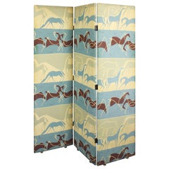 1960s Folding Screen, Wood, Prehistoric Horses Vinyl Upholstery, France