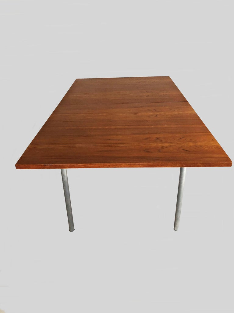 Steel 1960s Hans Wegner Refinished Extension Dining Table in Teak by Andreas Tuck For Sale