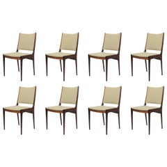 1960s Johannes Andersen Eigth Rosewood Dining Chairs, Choice of Upholstery