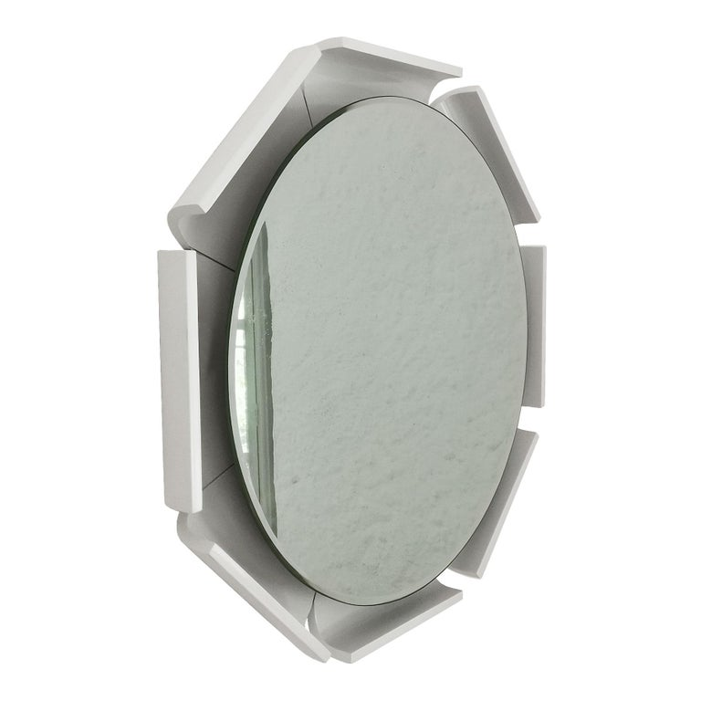 Mid-Century Modern 1960s Large Beveled Mirror, White Lacquered Wood, Backlighting System, Italy For Sale
