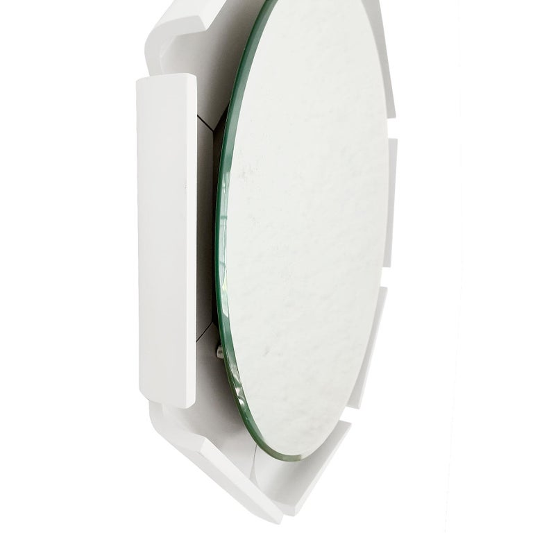 Italian 1960s Large Beveled Mirror, White Lacquered Wood, Backlighting System, Italy For Sale