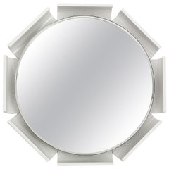 1960s Large Beveled Mirror, White Lacquered Wood, Backlighting System, Italy