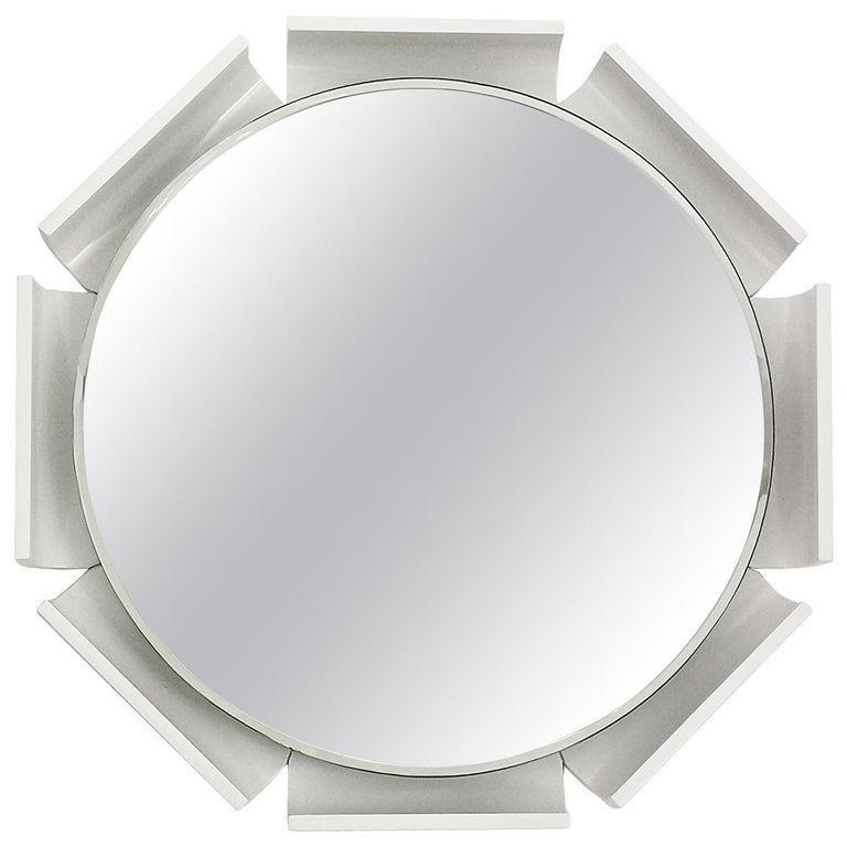1960s Large Beveled Mirror, White Lacquered Wood, Backlighting System, Italy For Sale