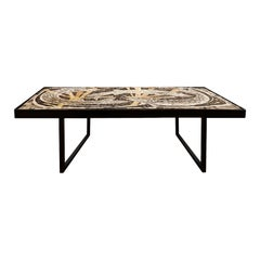 1960s Large Coffee Table, Stone Mosaic, Concrete, Blackened Steel, France