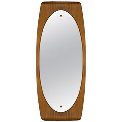 1960s Large Curved Mirror by Campo & Graffi, Teak, Brass, Italy