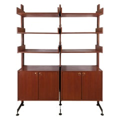 1960´s Modular Cabinet, Two Blocks, Six Shelves, Teak, Steel, Brass, Italy