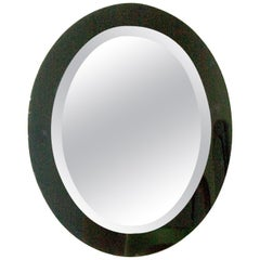 1960s Oval Beveled Mirror, Smoked Green Mirror Frame, Italy