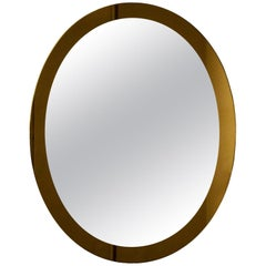 1960s Oval Mirror by Lupi Cristal Luxor, Smoked Bronze Mirror Frame, Italy