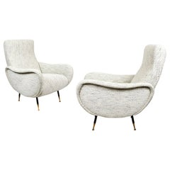 1960s Pair of Armchairs, Steel and Brass, Flecked Fabric, Restored, Italy