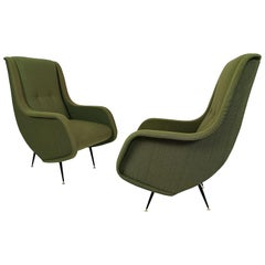 1960s Pair of Armchairs with High Backs, Steel, Brass, Fabric, Italy