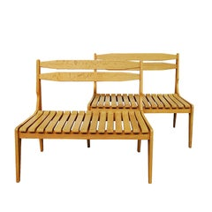 1960s Pair of Benches by Guillerme and Chambron for Votre Maison, Oak, France
