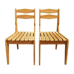 1960s Pair of Chairs by Guillerme and Chambron, Waxed Oak, France