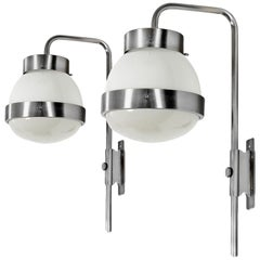 "1960s Pair of ""Large Delta"" Wall Lights by Sergio Mazza for Artemide, Italy"