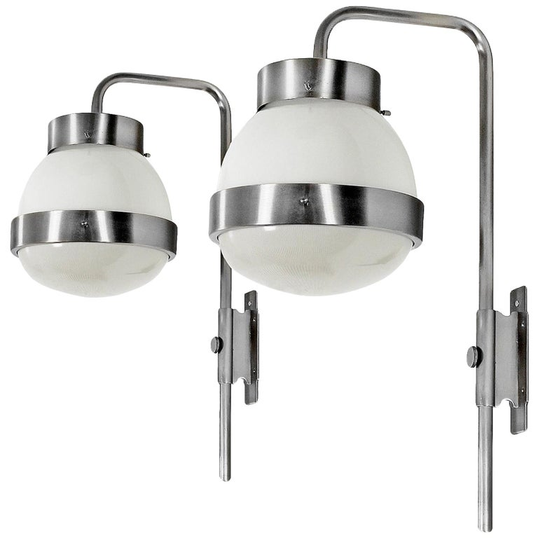"""1960s Pair of """"Large Delta"""" Wall Lights by Sergio Mazza for Artemide, Italy For Sale"""