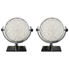 1960s Pair of Small Table Lamps, Blackened Steel, Pressed Glass, Italy