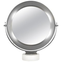 1960s Pivoting Vanity-Table Mirror by Sergio Mazza, White Marble, Italy
