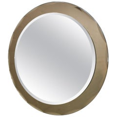 1960´s Round mirror from ISA, cut grey rounded crystal frame - Italy
