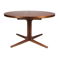 1960s Round Table, Incorporated Extension System, Solid Teak, Denmark