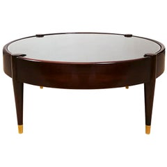 1960s Round Vitrine-Coffee Table by Jordi Vilanova, Walnut, Leather, Barcelona
