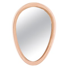 1960´s Rounded Triangular Mirror, Pink Transparent Glass Frame, Italy