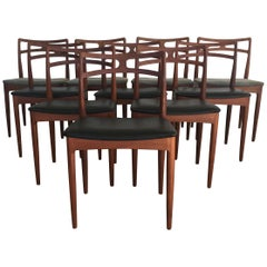 1960s Set of 10 Johannes Andersen Dining Chairs in Teak, Inc. Reupholstery
