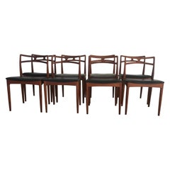 1960s Set of Eight Johannes Andersen Dining Chairs in Teak, Inc. Reupholstery