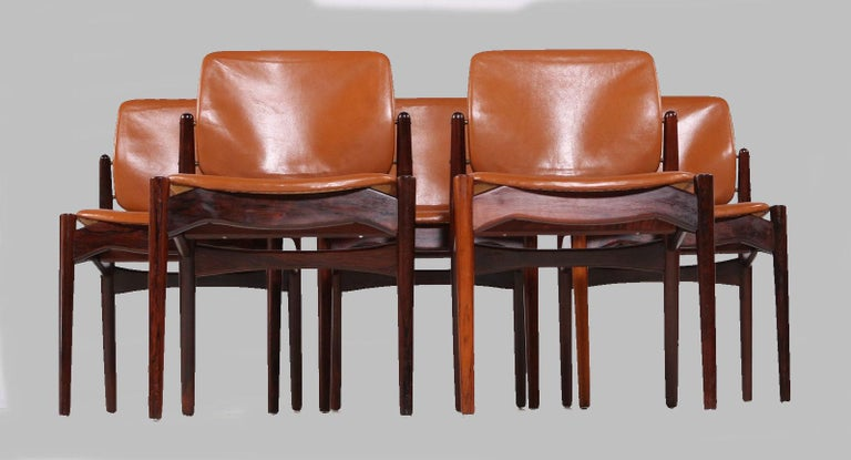 Set of 5 Danish rosewood dining chairs designed by Erik Buch and produced by Ørun Møbler in the 1960s  The model is often reffered to as the