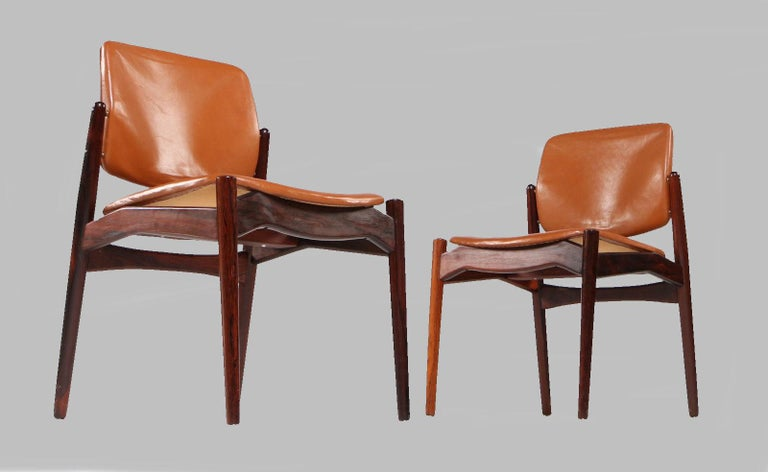 Danish Set of Five Erik Buch Refinished Dining Chairs in Rosewood, Inc. Reupholstery For Sale