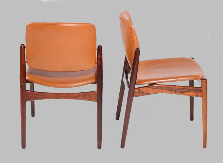 Mid-20th Century Set of Five Erik Buch Refinished Dining Chairs in Rosewood, Inc. Reupholstery For Sale