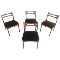 1960s Set of Four Danish Teak Dining Chairs Reupholstered in Black Faux Leather