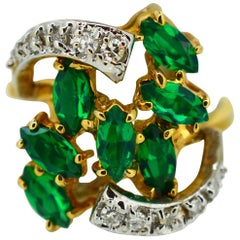 1960 's Style Green Beryl and Diamond 14K Yellow Gold Cocktail Ring