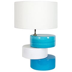 1960s Table Lamp by Kostka, White and Blue Enameled Ceramic, France