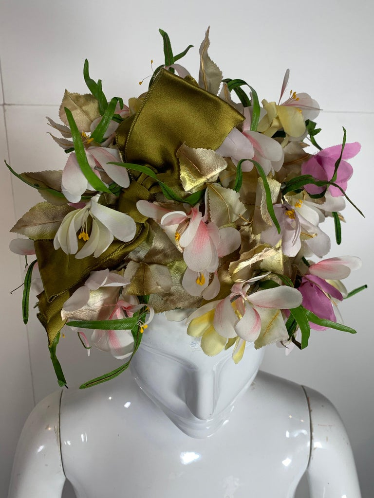 1960 Saks Millinery Yellow White & Lavender Floral Sculpted Turban W/Bows For Sale 5