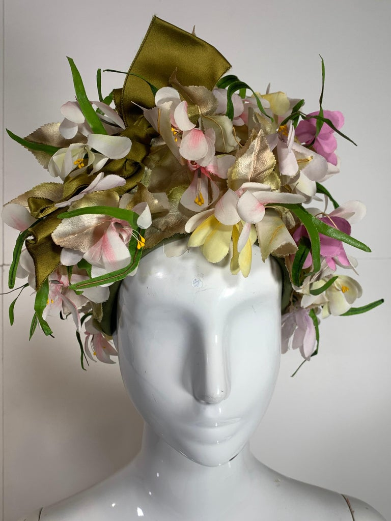 1960 Saks Millinery Yellow White & Lavender Floral Sculpted Turban W/Bows For Sale 6