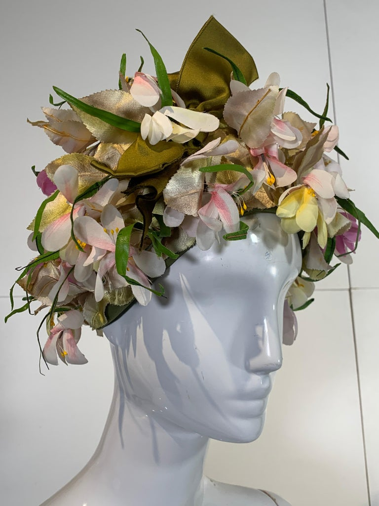 1960 Saks Millinery Yellow White & Lavender Floral Sculpted Turban W/Bows For Sale 7