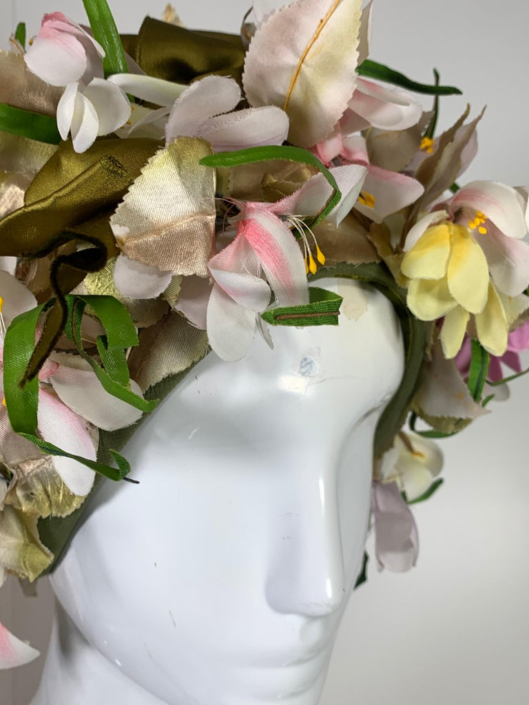 Beige 1960 Saks Millinery Yellow White & Lavender Floral Sculpted Turban W/Bows For Sale