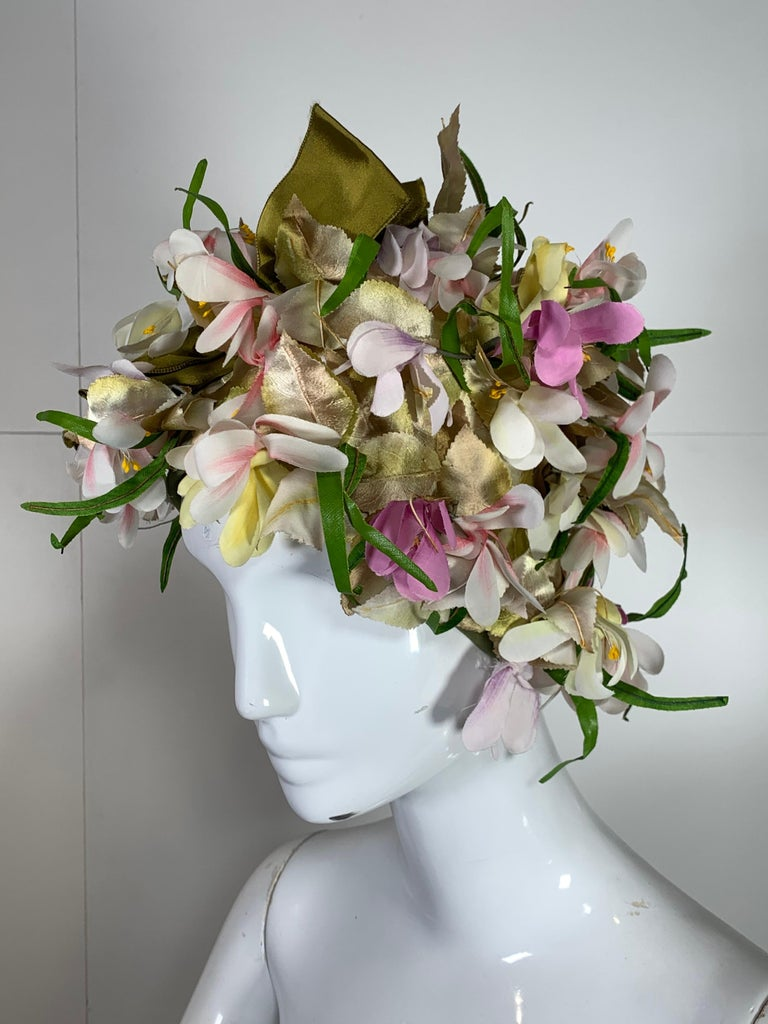 1960 Saks Millinery Yellow White & Lavender Floral Sculpted Turban W/Bows For Sale 4