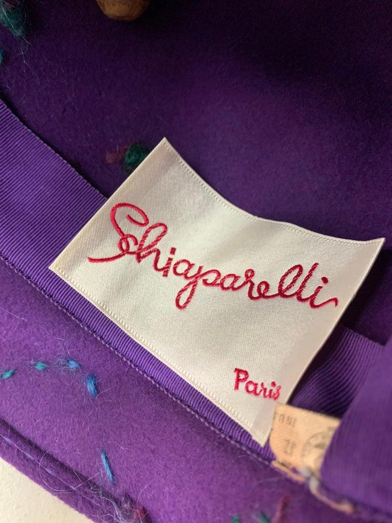 1960 Schiaparelli Purple Wool Bucket Hat w/ Yarn Embroidery and Tassel For Sale 6