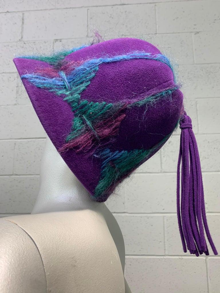 1960 Schiaparelli Purple Wool Bucket Hat w/ Yarn Embroidery and Tassel For Sale 1