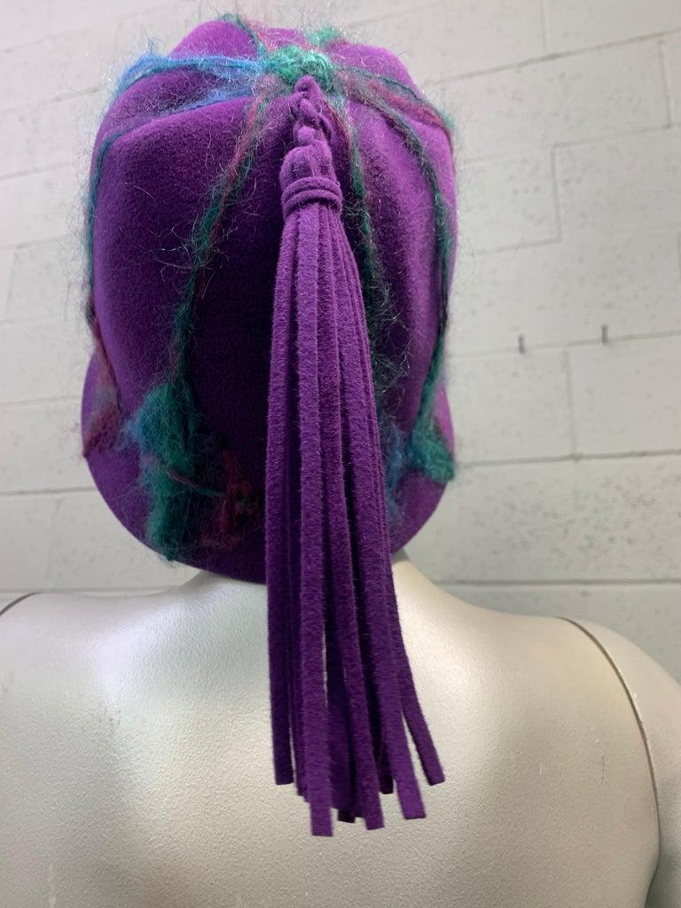 1960 Schiaparelli Purple Wool Bucket Hat w/ Yarn Embroidery and Tassel For Sale 2