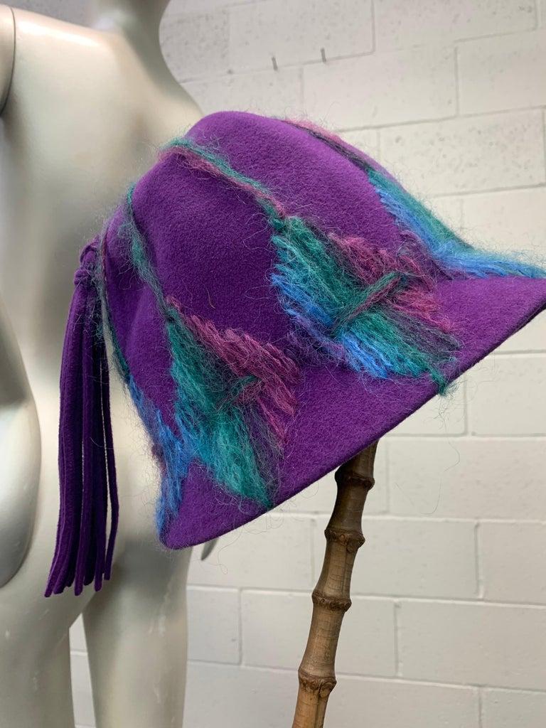 1960 Schiaparelli Purple Wool Bucket Hat w/ Yarn Embroidery and Tassel For Sale 4