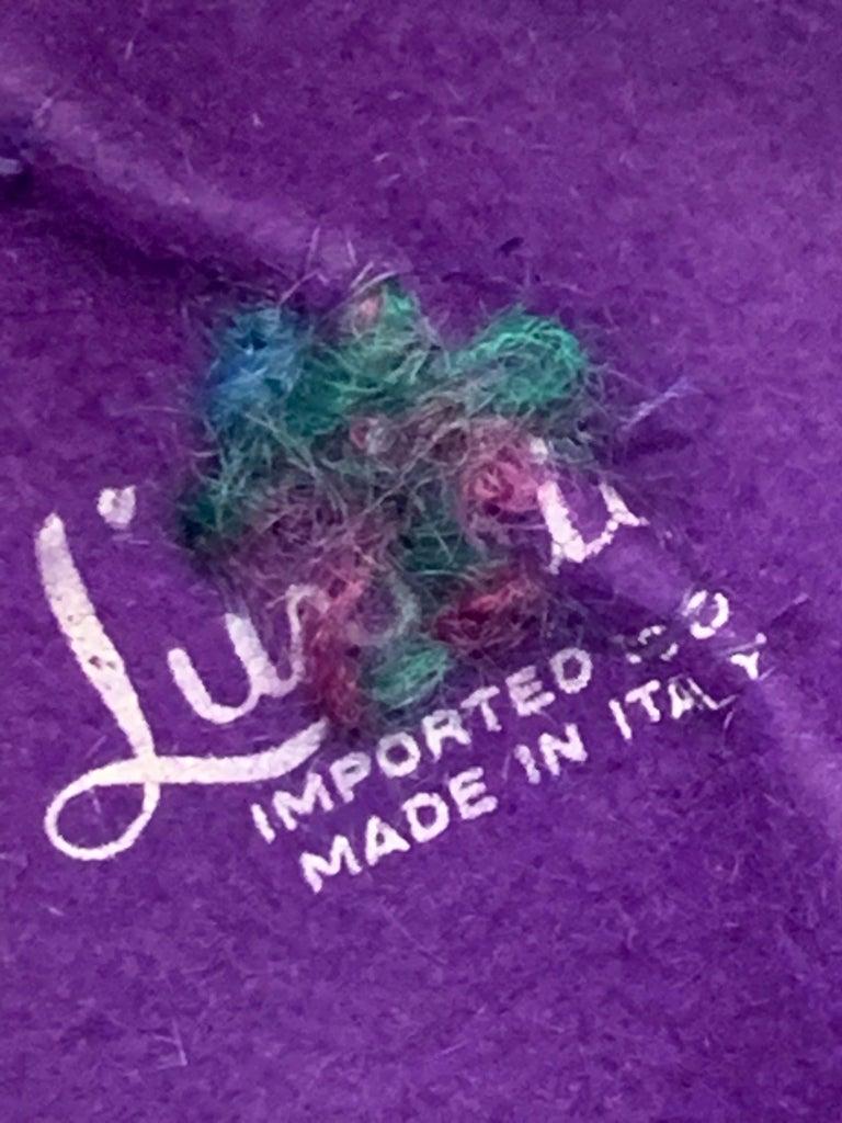 1960 Schiaparelli Purple Wool Bucket Hat w/ Yarn Embroidery and Tassel For Sale 5