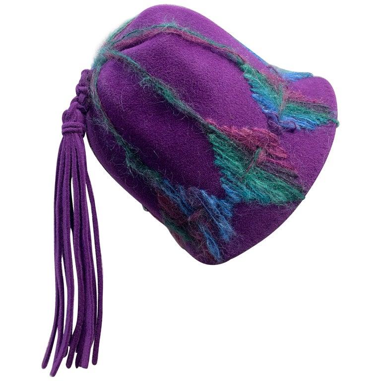 1960 Schiaparelli Purple Wool Bucket Hat w/ Yarn Embroidery and Tassel For Sale