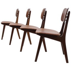 1960 Set of Four Dining Chairs in Teak and Leather by Bolting Stolefabrik