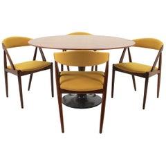 1960 Set of Four Kai Kristiansen Model 31 Chairs and Round Teak Table