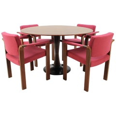 1960 Set of Four Magnus Olesen Chairs and Round Teak Table