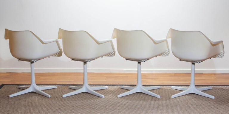 French Set of Four White Swivel Chair by Robin Day for Hille, France, 1960