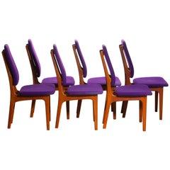 1960 Set of Six Slim Teak High Back Dinning Chairs by Erik Buch for O.D. Möbler