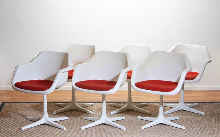 1960, Set Of Six White Swivel Chair By Robin Day For Hille