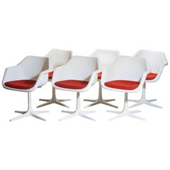 1960, Set of Six White Swivel Chair by Robin Day for Hille, France